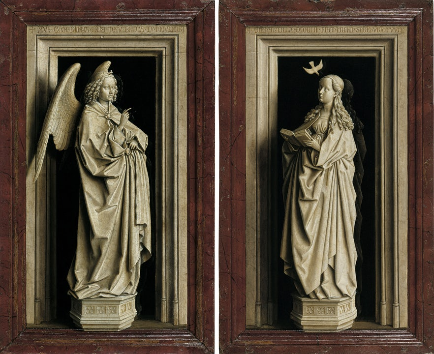 Jan van Eyck, The Annunciation Diptych, c. 1433-35 (Museo N…