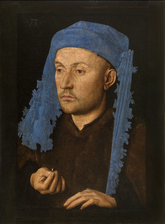 Jan van Eyck, Portrait of a Man with a Blue Chaperon, c. 14…